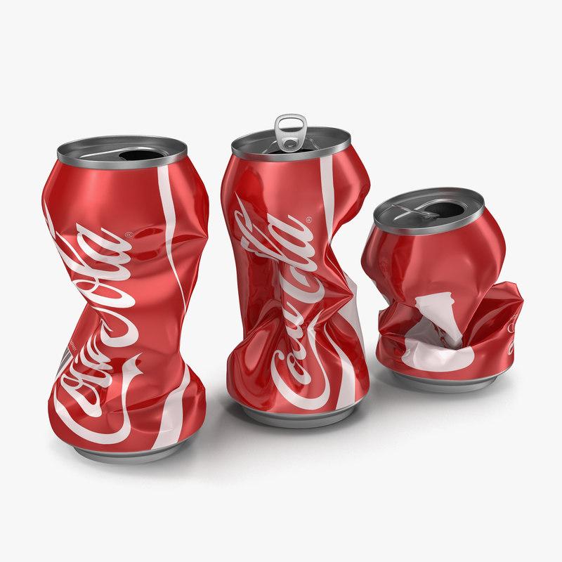 Crushed Soda Cans Set Coca Cola vray 3d models 00.jpg