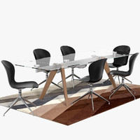 3d model monza table adelaide chairs
