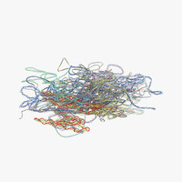 pile colorful plastic cables 3d c4d