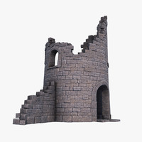 old tower ruins 3d max