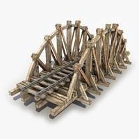 3d model wooden railway bridge