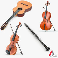 3d model guitar viola ello clarinet