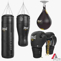3d model punching bag boxing gloves