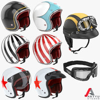 motorcycles helmet goggles set obj
