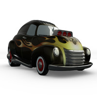 3d model cartoon hot rod