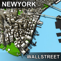 lower manhattan streets wall 3d model