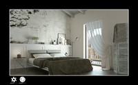 3d model scene interior bedroom bed