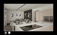 Interior kitchen Living Room C4D only for Octane