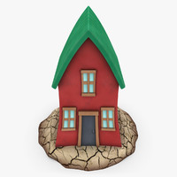 cartoon house shape 3 3d model