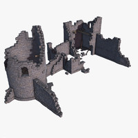 3d medieval castle ruins model
