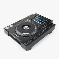 3d realistic dj turntable pioneer model