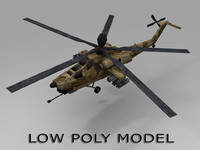 low-poly mi-28 helicopter 3d obj