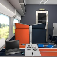 3d model passenger train interior
