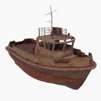 3d model rusty tug boat