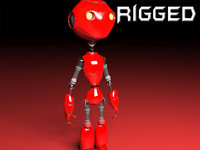 robot rigged biped 3d x