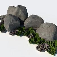 desertic xeriscape rock 3d model