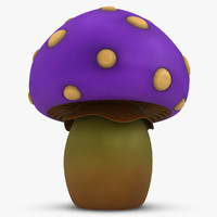 3d cartoon mushroom purple