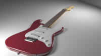 3d model of red stratocaster guitar