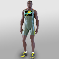 3d model athlete rigged run animation