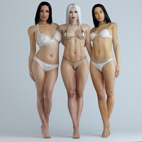 pack rigged characters girl 3d x