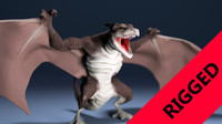 3d rigged dragon animation model