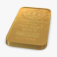 3d gold bar 100g model