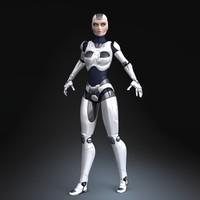 3d model sci-fi female robot