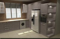 3d model kitchen modern cabinet