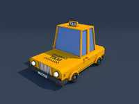 Low Poly Taxi Car 2