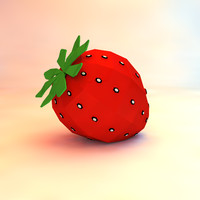 low poly strawberry (game ready)