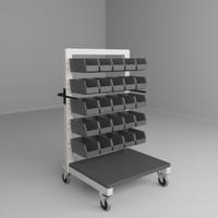 3d model mobile height adjustable carts