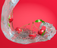 scene cherries water 3d model
