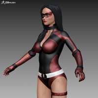 superhero woman 3d obj