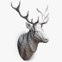 deer stag head sculpture 3d obj