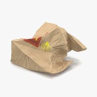 Crumpled Fast Food Paper Bag 2 Mcdonalds