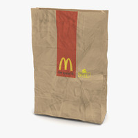 Crumpled Fast Food Paper Bag Mcdonalds