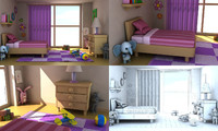 3ds cartoon girl room