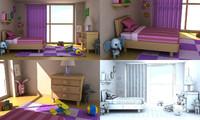 3ds cartoon girl room