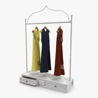 iron clothing display rack obj