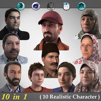 10 realistic characters 1 3d model
