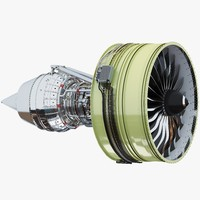 turbofan aircraft engine 3d max