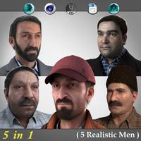 3d model 5 realistic men 1