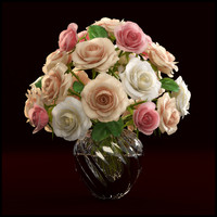 roses arranged vase 3d model