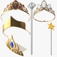 princess tiaras ariel 3d model