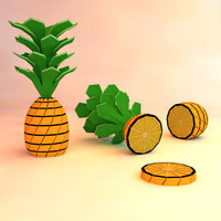 3d pineapple asset model