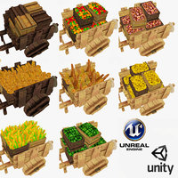 diffuse wooden cart polys 3d model