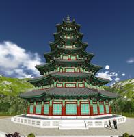 korean octagonal 3d model