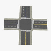 3d model 4 lane street intersection