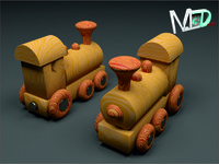 wood train locomotive 3d model