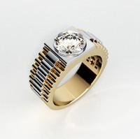 Mens ring with round gemstone 004